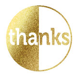 Thanks badge in golden. On white background Royalty Free Stock Photo