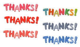 Thanks colorful lettering with polka dot pattern Stock Photos