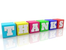 Thanks Concept on colorful cubes.3d illustration. In backgrounds Stock Images