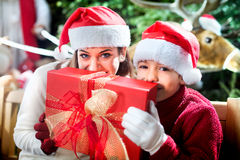 Thanks dad for Christmas gift Stock Photography