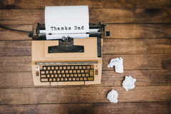 Thanks dad written on paper Royalty Free Stock Image