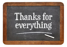 Thanks for everything on blackboard. Thanks for everything  - text on a vintage slate blackboard Royalty Free Stock Images
