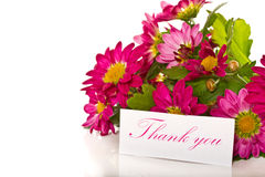 Thanks with flowers Stock Images