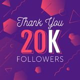 Thanks-followers copy. Thank you for folowing poster, banner design illustration. For social network accounts promotions and appriciation events. Trendy gradient Stock Images