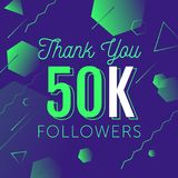 Thanks-followers copy. Thank you for folowing poster, banner design illustration. For social network accounts promotions and appriciation events. Trendy gradient Stock Photos