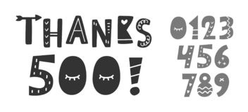 Thanks 500 followers, likes hand written funny lettering. Creative numbers set. Congratulations design template for social network, blog post, greeting card royalty free illustration