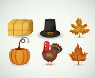 Thanks given icon set design. Hay hat leaf pumpkin and tukey icon. Thanks given and autumn season theme. Colorful design. Vector illustration Stock Images