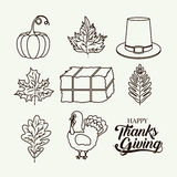 Thanks given icon set design. Hay hat leaf pumpkin and tukey icon. Thanks given and autumn season theme. Silhouette design. Vector illustration Stock Photography