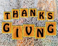 Thanks giving on blurr background Royalty Free Stock Photos
