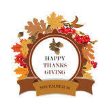 Thanks Giving card with leaves and fruits. Thanks Giving card with leaves and viburnum fruits. Vector Stock Photo