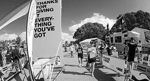 Thanks for Giving it Everything You've Got. AUCKLAND- Mar. 14: Participants at the finish line of Auckland Round the Bays, one of the world's largest fun walk Stock Photography
