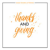 Thanks and giving lettering with black splashes. Isolated on white background, grunge hand painted letter, vector thanksgiving text for greeting card, poster Stock Photos
