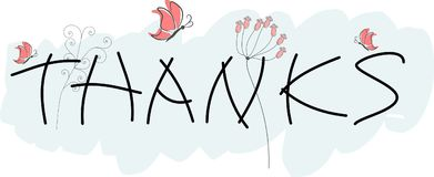 Thanks greeting card. With purple butterflies and flowers Royalty Free Illustration