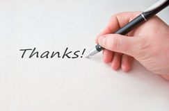Thanks with hand and black pen Stock Photos