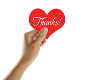 Thanks!. Hand holding a red heart with text Thanks Stock Photography