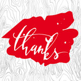 Thanks. Hand-lettering. Thank you. Modern calligraphy. Brush lettering. Thanks. Hand lettering.Thank you. Modern calligraphy Brush lettering Royalty Free Stock Photos