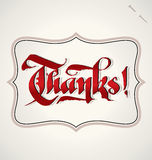 Thanks hand lettering (vector) Stock Images