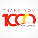 Thanks 1000 1k emblem. Thanks 1000 logotype. Congratulating coloured networking template, net friends image, %, -% percent off discount. Round isolated abstract Stock Image