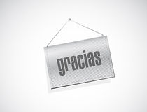Thanks message in spanish on a banner. Stock Photo