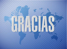 Thanks message in spanish over a world map Royalty Free Stock Photography