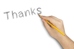 Thanks Pencil Hand Writing White Royalty Free Stock Photos