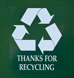 Thanks for recycling sign Stock Photo