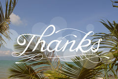 Thanks -  sign on blurred tropical beach Stock Photos