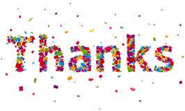 Thanks sign with colorful confetti. Illustration of Thanks sign with colorful confetti Royalty Free Stock Image