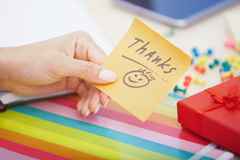 Thanks text on adhesive note Stock Image