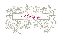 Thanks text with frame flourish of vintage decorative whorls . Calligraphy lettering Vector illustration EPS10 Royalty Free Stock Photography