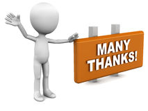 Thanks. Thankyou or thanks concept, many thanks on a banner shown by a little man showing gratitude Royalty Free Stock Photos