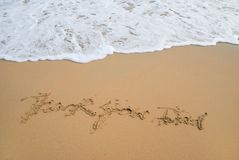Thanks to Dad. Thanks Message to Dad left in surfy beach Stock Image