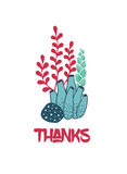 Thanks underwater greeting card with seaweeds Stock Image