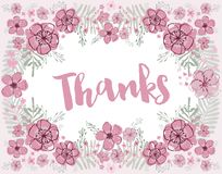 Thanks vector pink and burgundy floral wreath vector illustration