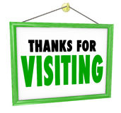 Thanks for Visiting Hanging Store Sign Customer Appreciation Stock Images
