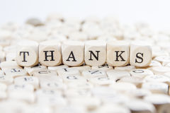 Thanks. Word concept on blocks wood Stock Photo