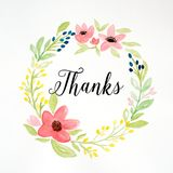 Thanks word and hand drawing watercolor flower wreath on white p Royalty Free Stock Photography