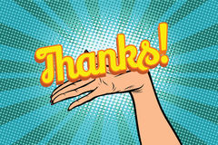 Thanks word. Women open palm hand hold gesture Stock Image