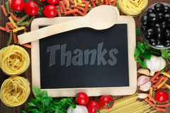 Thanks. Word of Thanks on the wooden menu board stock photos