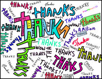 Thanks words. Using the word Thanks to create a colorful abstract on cardstock and colored with computer Stock Photos