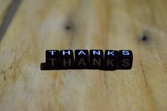 Thanks written on wooden blocks. Inspiration and motivation concepts royalty free stock photography