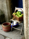Thanks You!. Basket with apples near Wells Cathedral, England royalty free stock photo