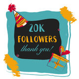 Thanks you card 20000 followers for network friends. Royalty Free Stock Photos