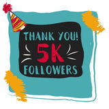 Thanks you card 5000 followers for network friends. Modern brush calligraphy. Inspirational quote in photo frame with festive flags vector illustration