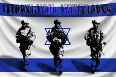 THANKS YOU VETERANS against the background of the Israel flag with soldiers vector illustration
