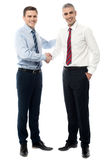 Thanks for your cooperation my friend. Young business people shaking hands after a deal stock photo