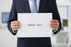 Thanks for your visit. Manager of enterprise saying thanks for cooperation Royalty Free Stock Photo