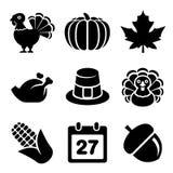 Thanksgivin Icons Set Isolated on White Background Stock Photo