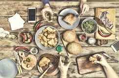 thanksgiving Εύγευστα αμερικανικά πρόχειρα φαγητά ημέρα των ευχαριστιών εορτασμού στο σπίτι στοκ φωτογραφία