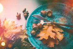 thanksgiving Πίνακας γευμάτων διακοπών που εξυπηρετείται, διακοσμημένος με τα φύλλα φθινοπώρου στοκ φωτογραφία
